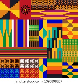 Colorful geometric print with Kente symbols. Set of patches inspired by African art. Template for textile design, cards, posters.