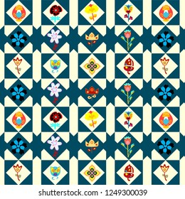 colorful geometric repeating pattern with floral decorative elements. modern design for textiles, fabric, background, wallpaper, backdrop, template, wrapping, packaging and stationary. swatch at eps.