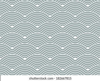 Colorful geometric seamless repetitive vector curvy waves pattern texture background vector graphic illustration