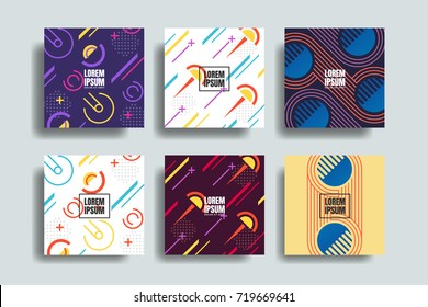 Colorful geometric shapes in motion. Chaotic geometry backgrounds set. Applicable for covers, placards, posters, flyers and banner designs. Covers with minimal design