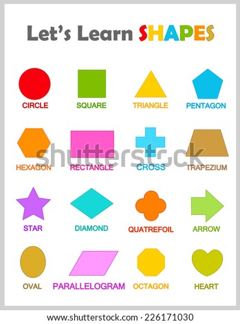 Colorful Geometric Shapes Their Name Clip Stock Vector