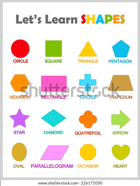 Colorful Geometric Shapes Their Name Clip Stock Vector ...