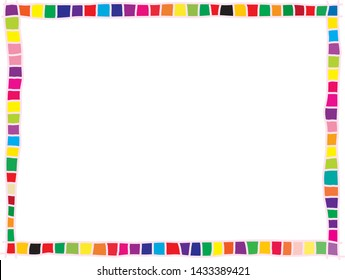colorful geometric style border consists of doodled square in various bright colors
