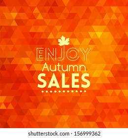 Colorful geometric triangular background card with maple leaf enjoy autumn sales