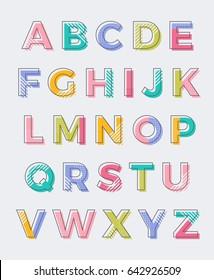 Colorful geometric uppercase alphabet vector design
