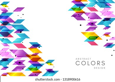 Colorful geometrical abstract background. Horizontal banner with decorative corner elements.