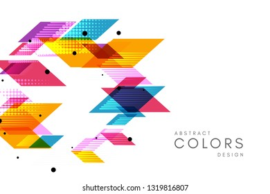 Colorful geometrical abstract background. Horizontal banner with decorative round element.