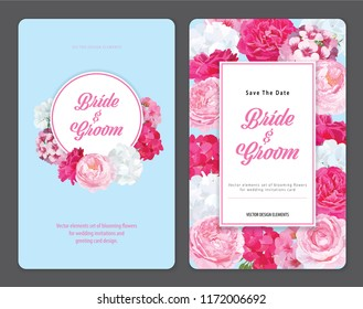 Colorful of geranium flowers and roses flower background template. Vector set of blooming floral for holiday invitations, greeting card and fashion design.