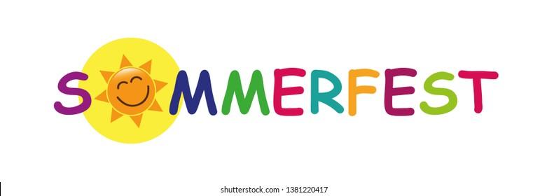 colorful german text summer fair with sun face vector illustration
