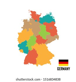 Colorful Germany map with regions, cities. Vector illustration. German flag.
