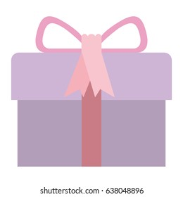 colorful gift box with decorative ribbon and topknot vector illustration