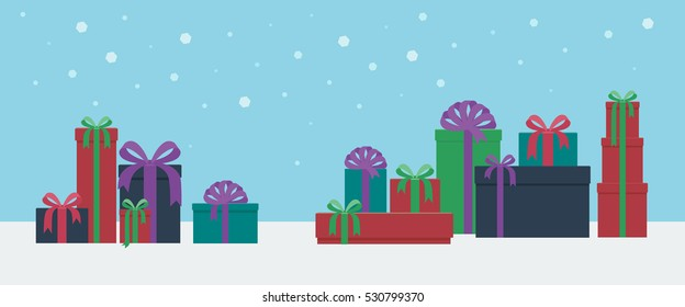 Colorful gift boxed presents in a horizontal landscape snowy background in flat style vector illustration