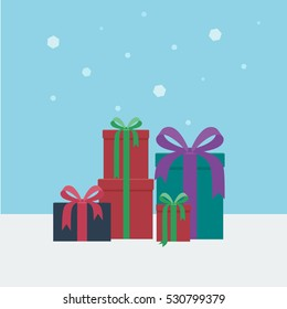 Colorful gift boxed presents in a square snowy background in flat style vector illustration