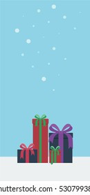 Colorful gift boxed presents in a vertical portrait snowy background in flat style vector illustration