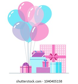 Colorful gift boxes and balloons on white background. Vector illustration in flat design.