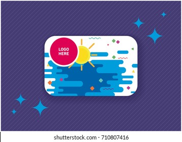 Colorful gift or discount card. Vector greeting card on purple background