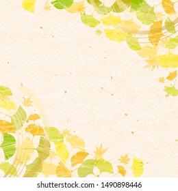 Colorful ginkgo leaves, Japanese string decoration called Mizuhiki