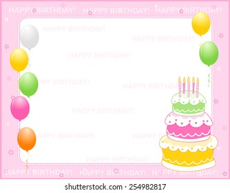 Colorful girly birthday card / invitation background with happy birthday text and balloons and a birth day cake