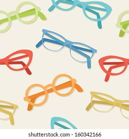 Colorful glasses on beige background seamless vector pattern.