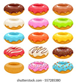 Colorful glazed donuts icons set. Sweet bakery vector with decorations.
