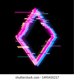 Colorful glitch rhombus geometric shape, frame with neon glitch effect on black background, vector illustration