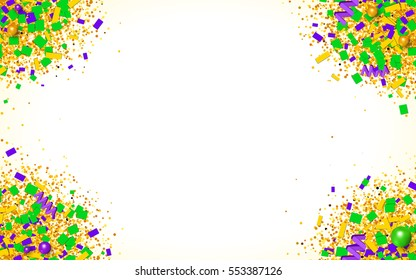 Colorful glitter, confetti and beads explosion in traditional Mardi Gras colors. Bright yellow, green and purple particles on white background. Vector illustration for your graphic design.