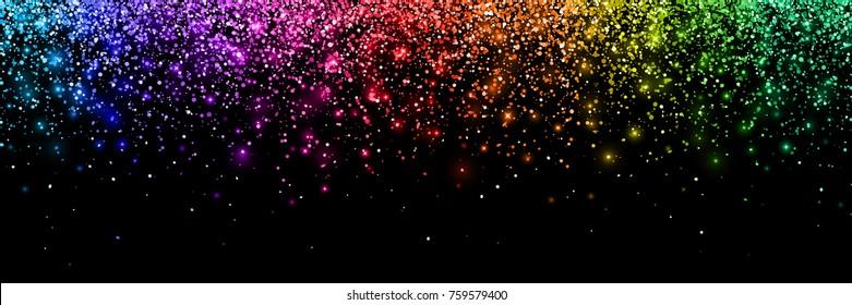 Colorful glittering confetti, wide horizontal orientation. Vector