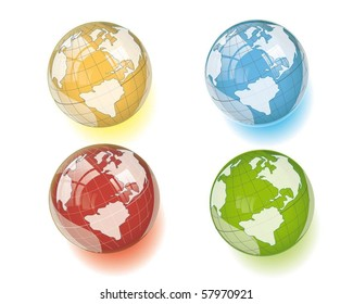 colorful globes with reflection