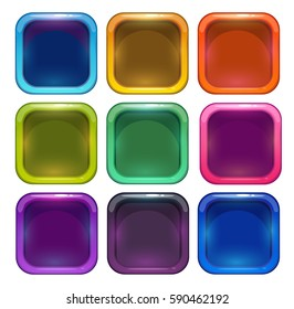 Colorful glossy app icon frames for web or game design. Vector isolated elements.