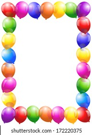 Colorful glossy balloons that form a frame - vertical portrait format.