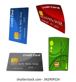 Colorful glossy bank credit cards set with electronic chips, for banking or finance themes design