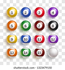 Colorful glossy billiard balls with numbers one to fifteen. Realistic 3d balls for pool or snooker game vector illustration. Sport game equipment set isolated on transparent background.