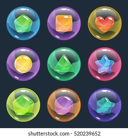 Colorful glossy bubbles with different shapes other colors inside. Vector assets for game design isolated on black background.