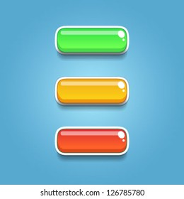 Colorful glossy buttons for game design and interface