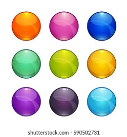 Colorful glossy buttons set. Isolated vector elements for web or game design.