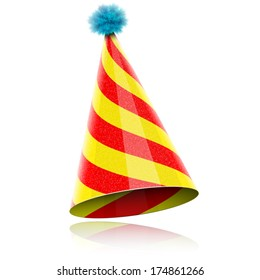 Colorful Glossy Hat For Celebration. Vector Illustration.