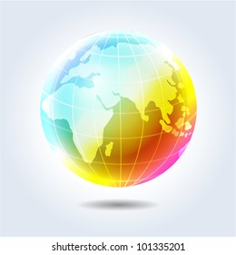 Colorful glossy rainbow earth globe icon hanging in light space