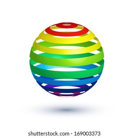 colorful glossy rainbow sphere design element