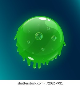 Colorful glossy sphere of slime with bubbles inside. Vector asset for game design isolated on black background.