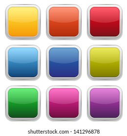 Colorful glossy square buttons