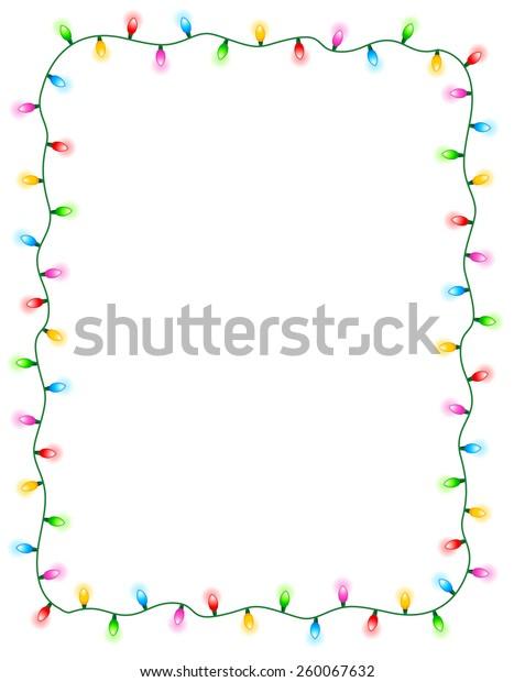 Christmas Light Border.Colorful Glowing Christmas Lights Border Frame Stock Vector