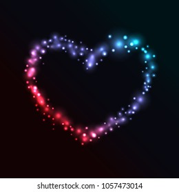 Colorful Glowing Heart on Black Background - vector eps10