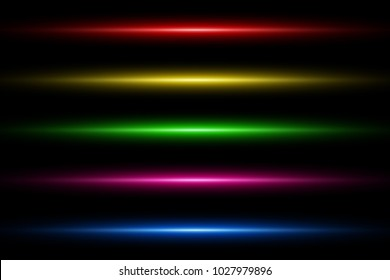 Colorful Glowing Lights Line Abstract Background Template. Multi-Colored. Vector