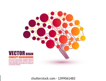 Colorful gradient brain concept in vector illustration