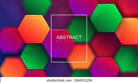 Colorful gradient hexagonal tiles with lines. Abstract modern background. Vector illustration. Creative 3d cover for branding design. Puzzle concept