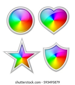 Colorful gradient icons or badges made of rainbow spectral colors placed on white background