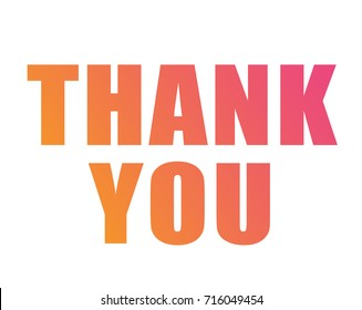 The Colorful gradient isolated word THANK YOU