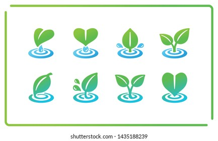 colorful and gradient leaf and ripple icon set,vector and illustration