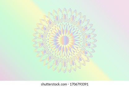 Colorful gradient mandala and pastel gradient abstract background vector art.