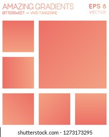 Colorful gradients in bittersweet, vivid tangerine color tones. Actual gradient background, lively vector illustration.